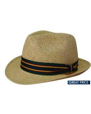 Branded Fedora Style String Straw Hat